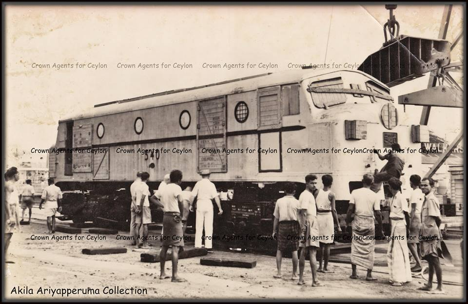 Class M1 540 being layed down to its wheels/bogies at the Colombo Harbour